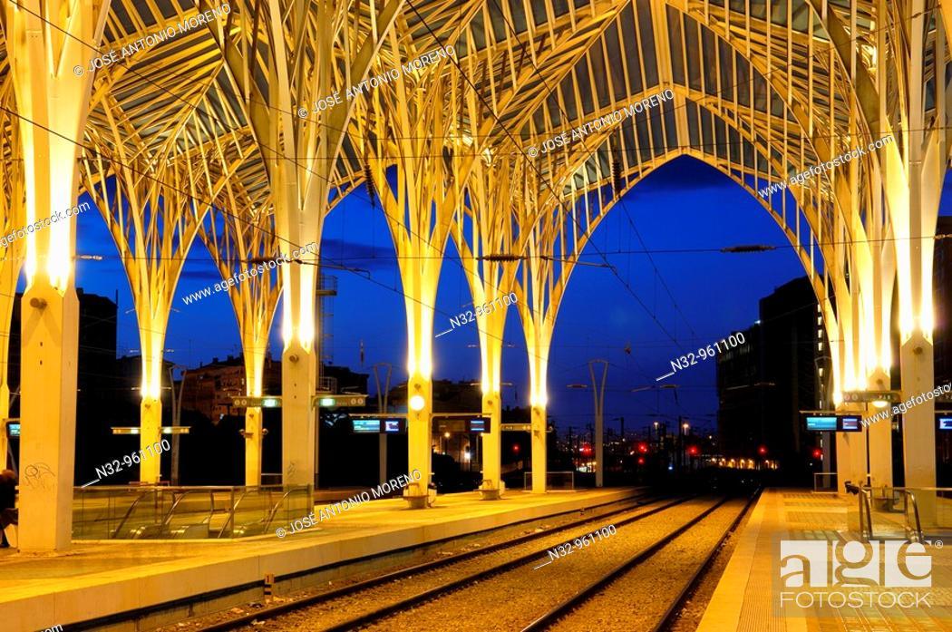 Stock Photo: Oriente railway station by Santiago Calatrava at Dusk, Gare do Oriente at dusk  Parque das Nações  Lisbon, Portugal.