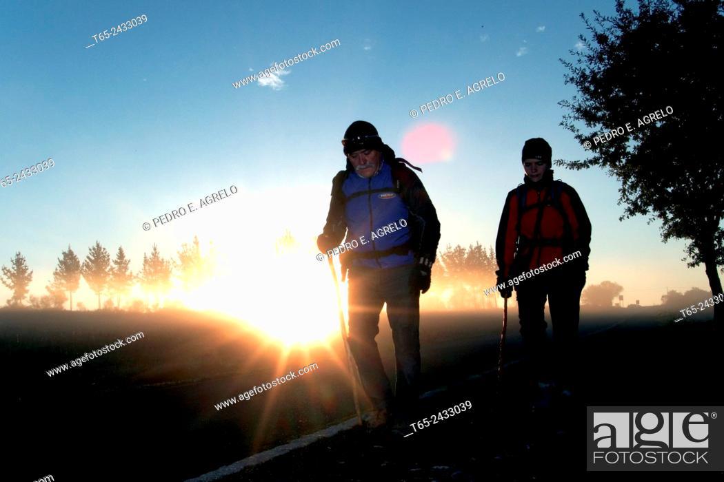 Imagen: Pilgrims near Palas de Rei, Camino de Santiago, Lugo province, Spain.