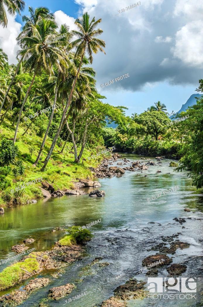 Stock Photo: Rainforest river near Falefa Falls, Upolu Island, Samoa.