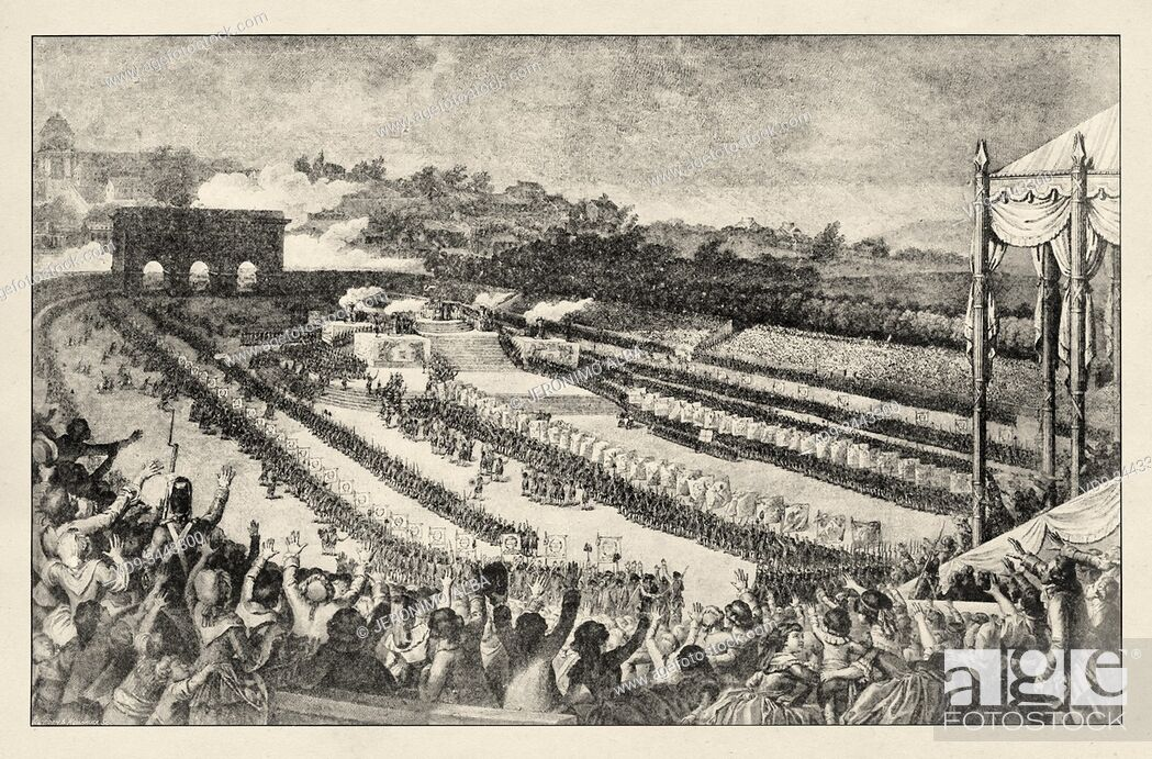 Photo de stock: The Feast of the Federation, July 14, 1789, French National Day. French Revolution 18th century. History of France, old engraved illustration image from the.