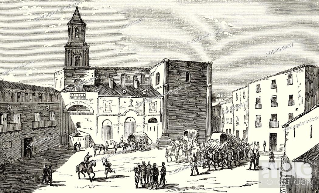 Stock Photo: Carlist Wars. Troops in Church Square in Lerin, Navarra. Spain, Europe. Old 19th century engraved illustration, El Mundo en la Mano 1878.