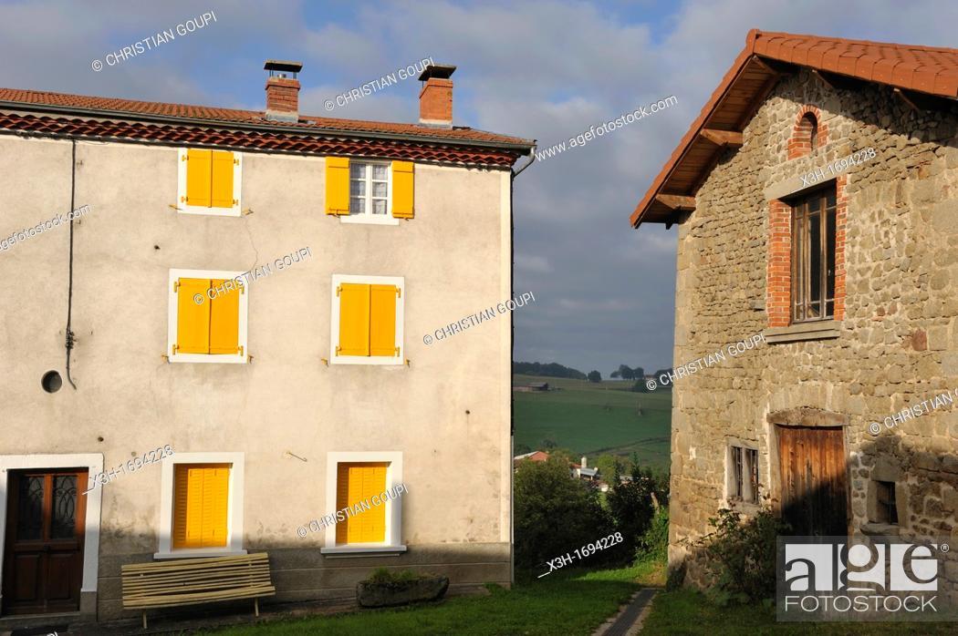 Stock Photo: Le Bourg, Tours sur Meymont, Livradois-Forez Regional Nature Park, Puy-de Dome department, Auvergne region, France, Europe.