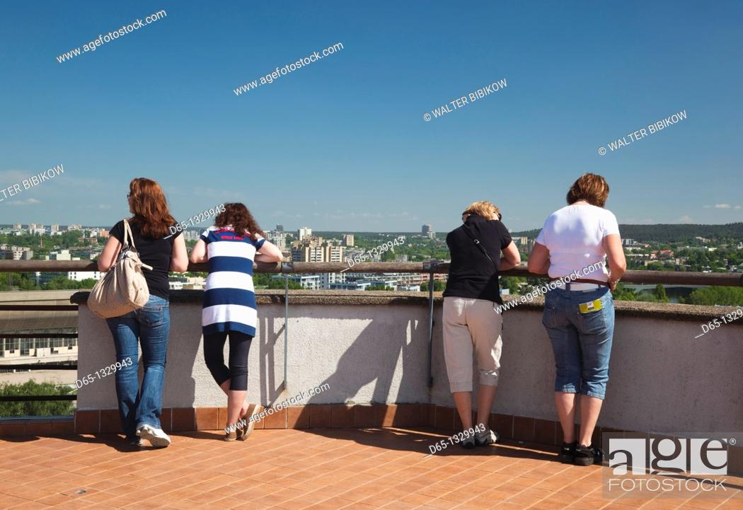 Stock Photo: Lithuania, Vilnius, visitors to Gediminas Hill.