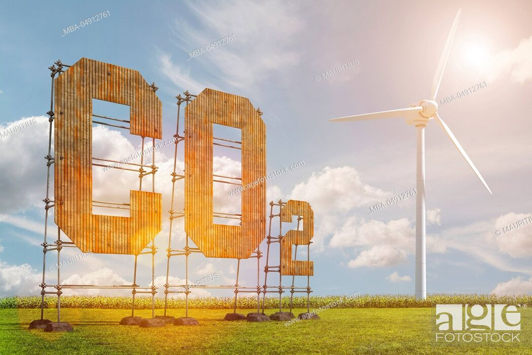 Stock Photo: 3d, CGI, [M], symbol, Co2, wind energy, pollutant.