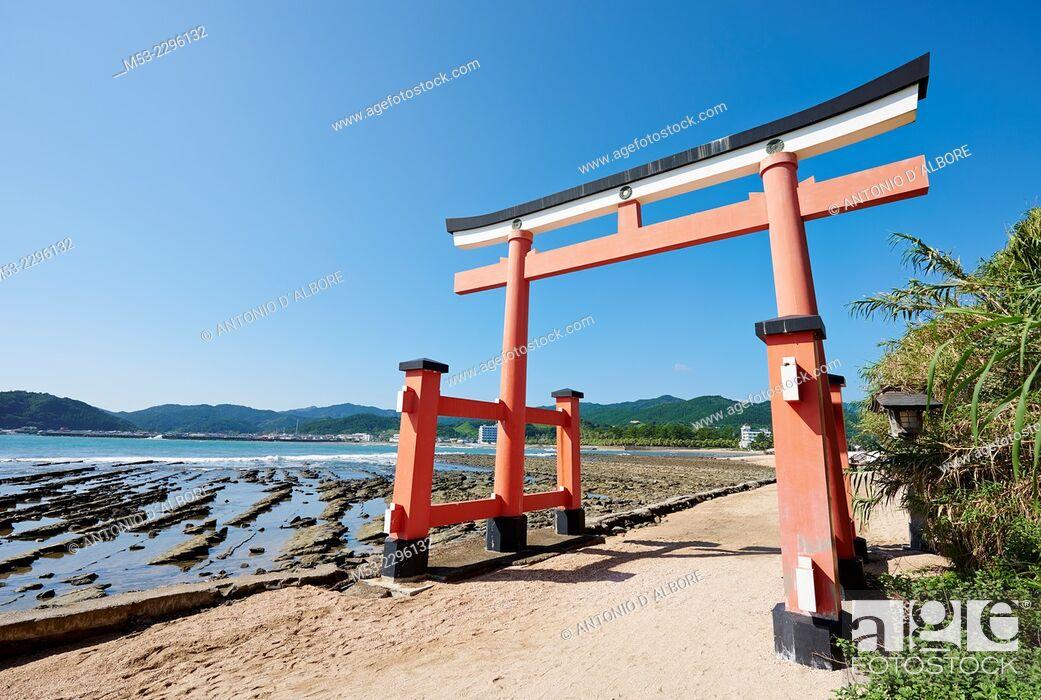 Stock Photo: A torii gate at the entrance of Aoshima Shinto Shrine. Aoshima. Miyazaki Prefecture. Japan.