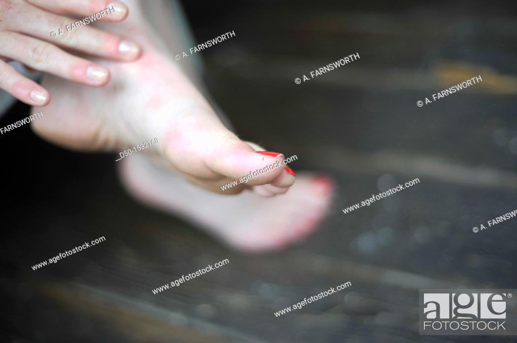 Stock Photo: Feet and nail polish, Medevi, Sweden.