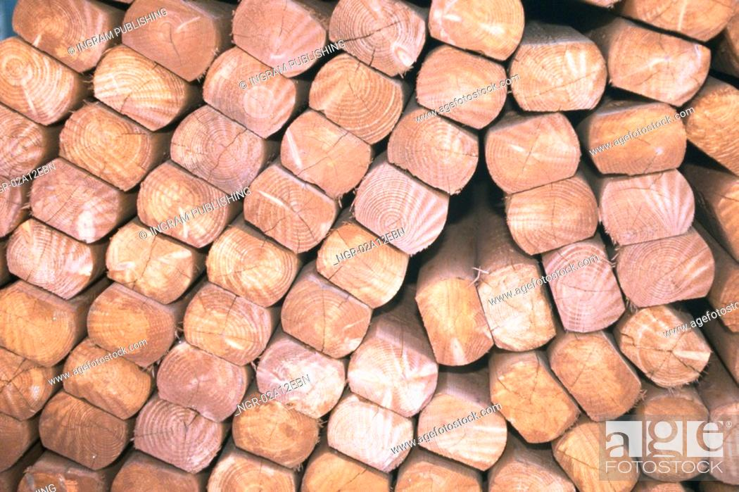 Stock Photo: Close-up of a pile of wooden logs.
