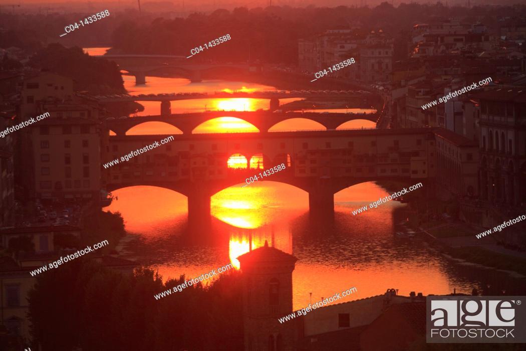 Stock Photo: Ponte Vecchio at sunset, Florence, Tuscany, Italy.