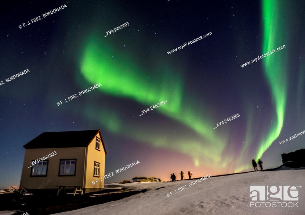 Stock Photo: Kopavagur sky by Night, Iceland.