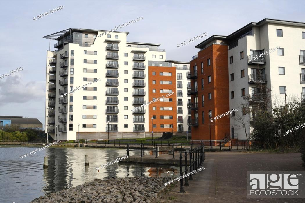Stock Photo: Modern apartment block in Cardiff, Water Quarter, Wales UK.