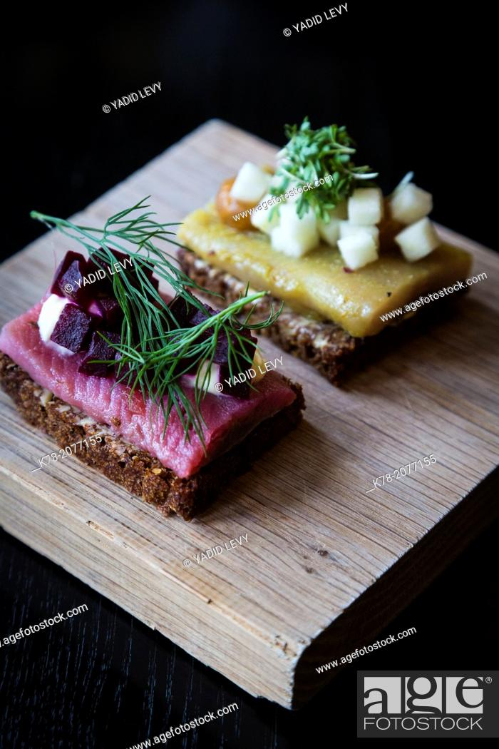 Small Danish Smorrebrod Of Herring Fish Served As Part Of The