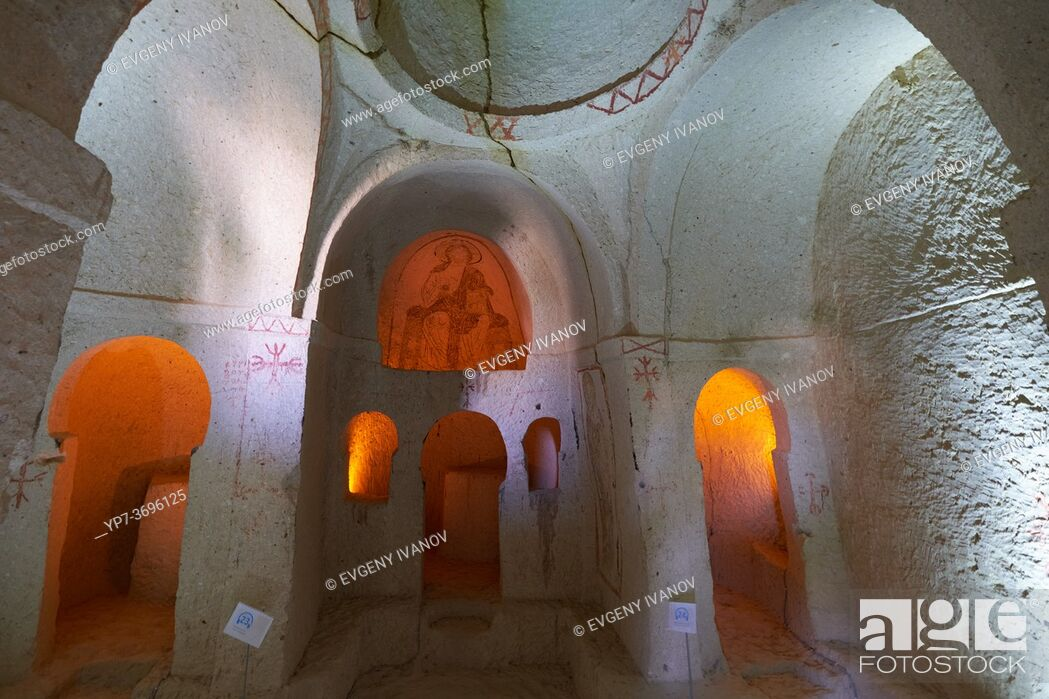 Stock Photo: Altar of the Nameless Chapel in Goreme Open Air museum, Cappadocia, Turkey.