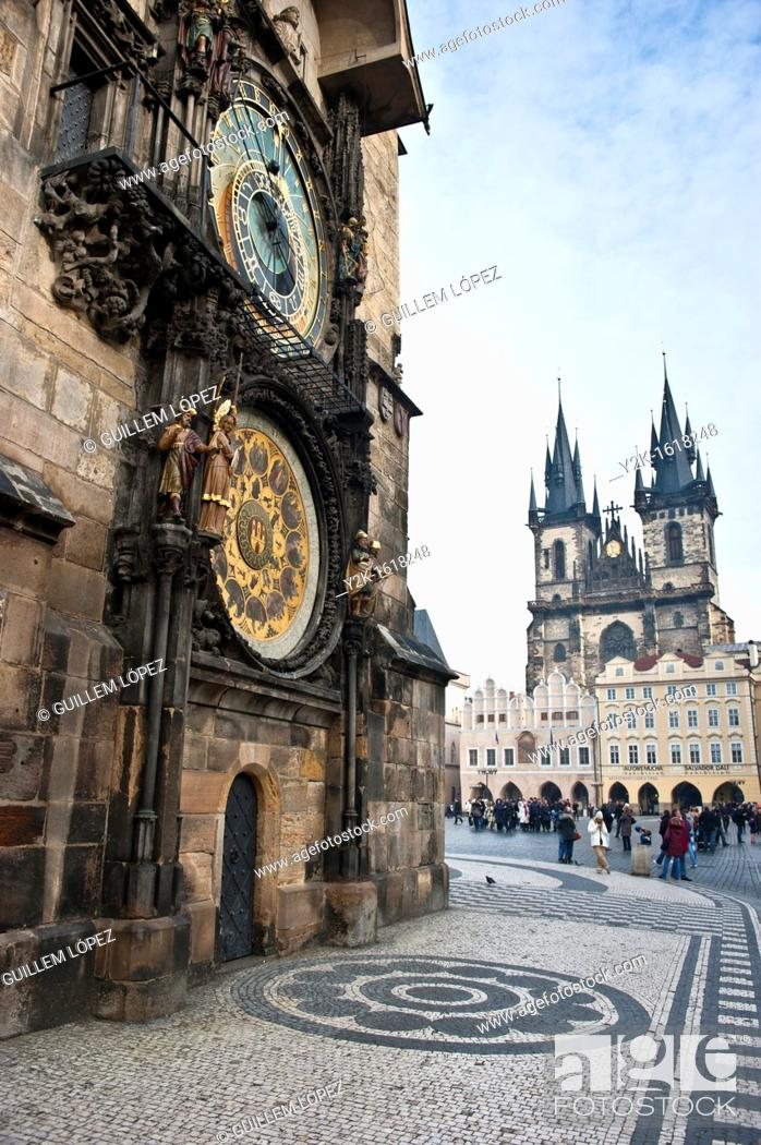 Stock Photo: View of the Astronomical clock and Tyn church in the old town Square, Stare Mesto, Prague, Czech Republic.