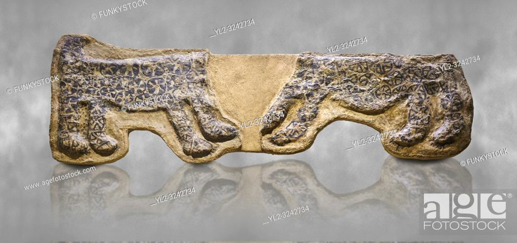 Stock Photo: painted leopard relief. The people of Catalhoyuk had a special religious meaning with leopards. These platered reliefs have many coats of plater indicating.