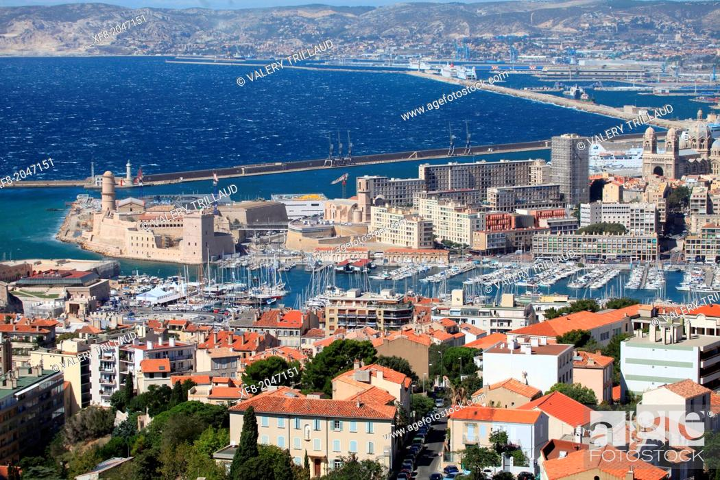 Stock Photo: Top view above the city of Marseille, Bouches du Rhône, 13, Paca, France.
