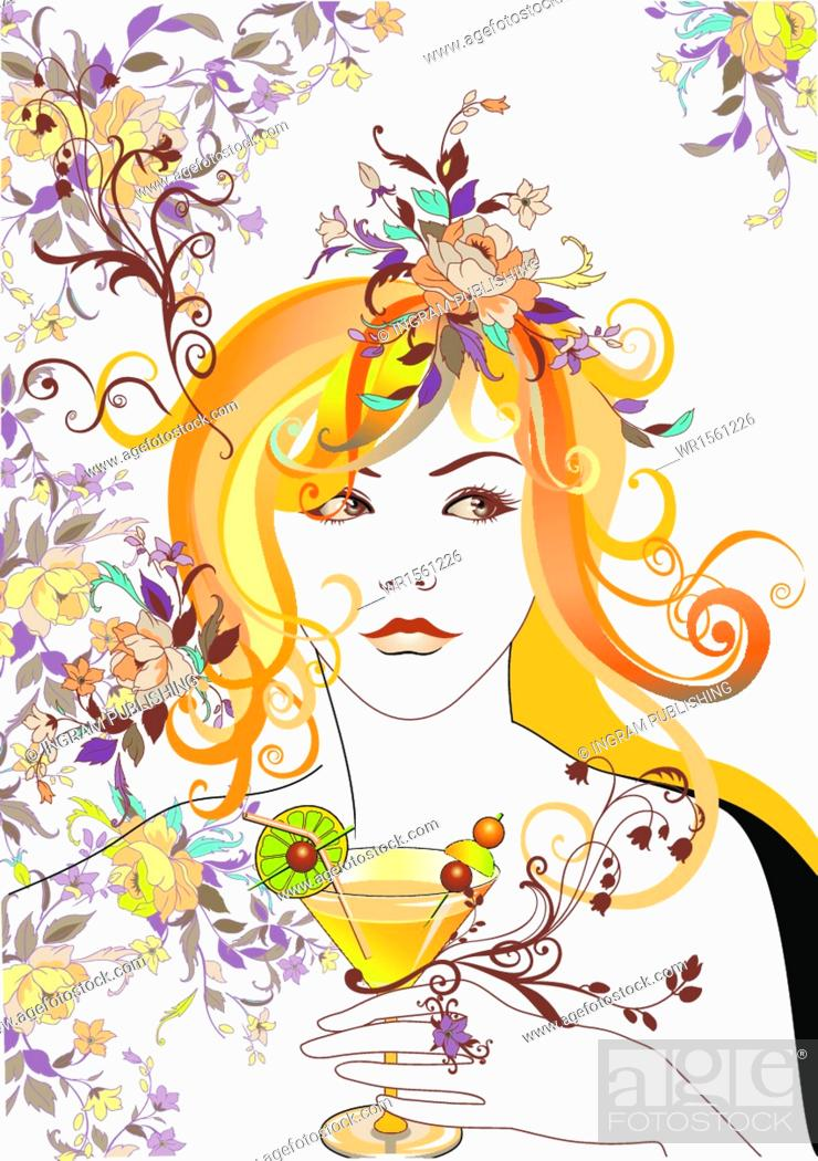 Stock Vector: Young Adult, Retro, Nymph, Glamor, Vector, Female, Revival, People, Portrait, Summer, Adult, Woman, Happy, Relaxation, Fun, Symbol, Face, Life, Beauty, Concept, Alcohol, Elegance, Flower, Head, Backgrounds, Girl, Plant, Silhouette, Spring, Green