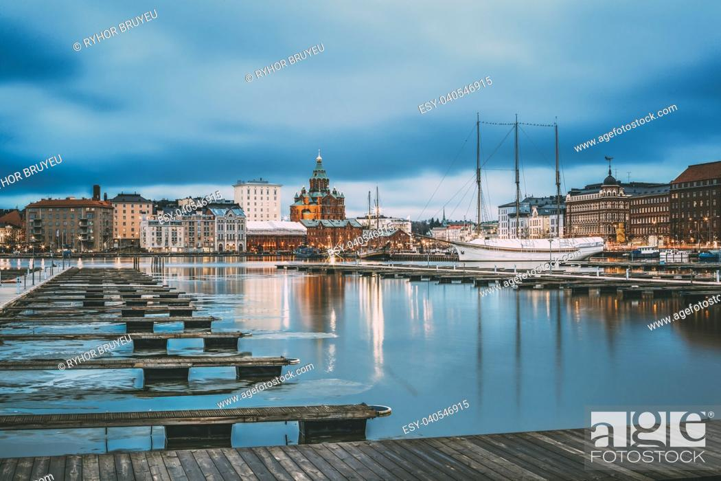 Stock Photo: Helsinki, Finland. View Of Evening City And Uspenski Cathedral From Pier.