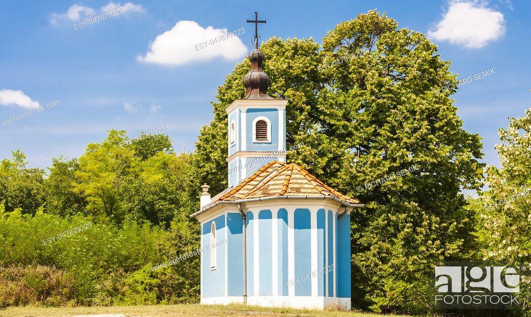 Stock Photo: blue church near Szalka, Hungary.
