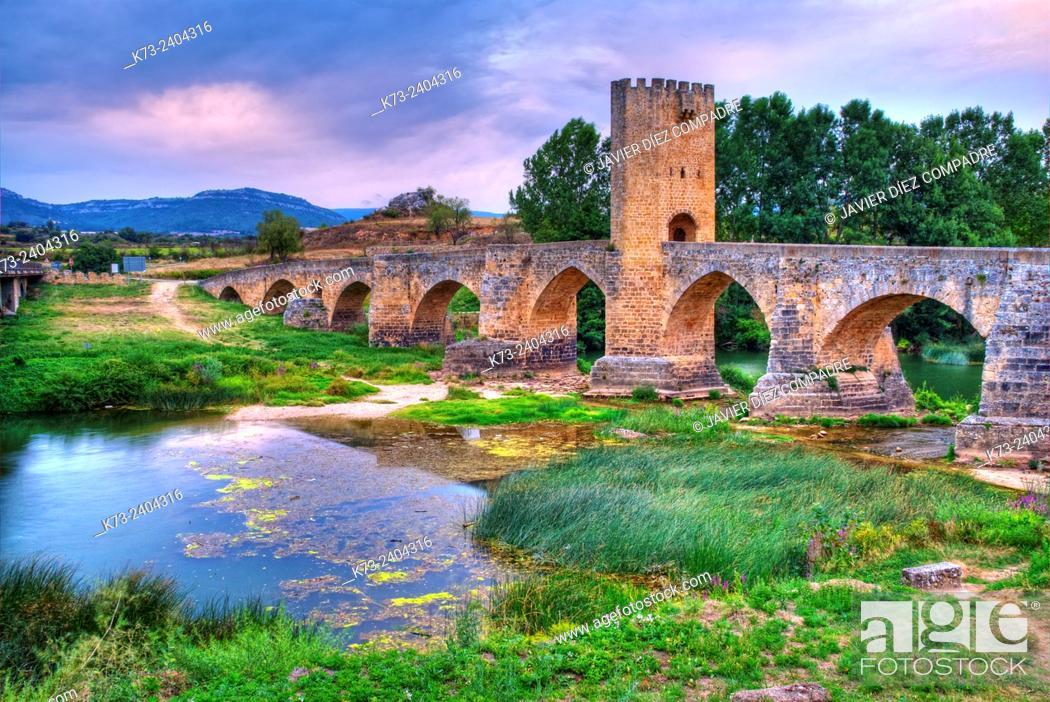 Stock Photo: Mediaeval Bridge over Ebro River. Frías. Burgos province. Castilla y Leon. Spain.