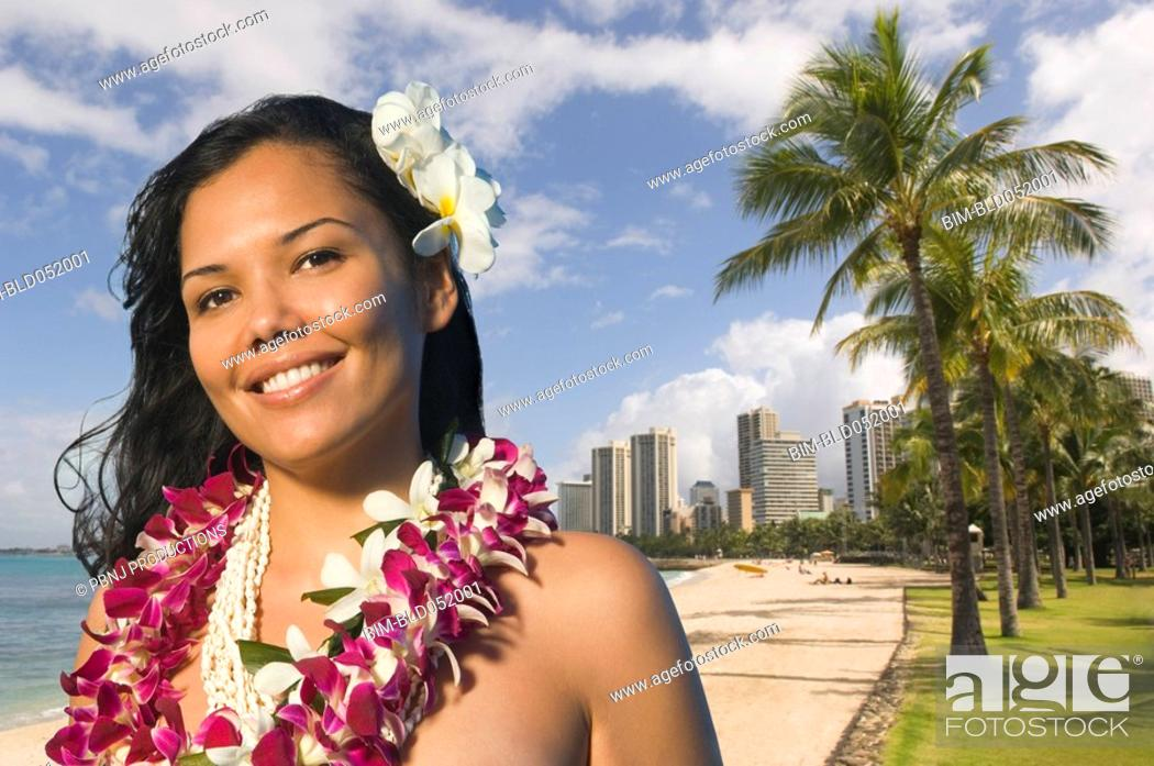 Stock Photo: Pacific Islander woman wearing lei.