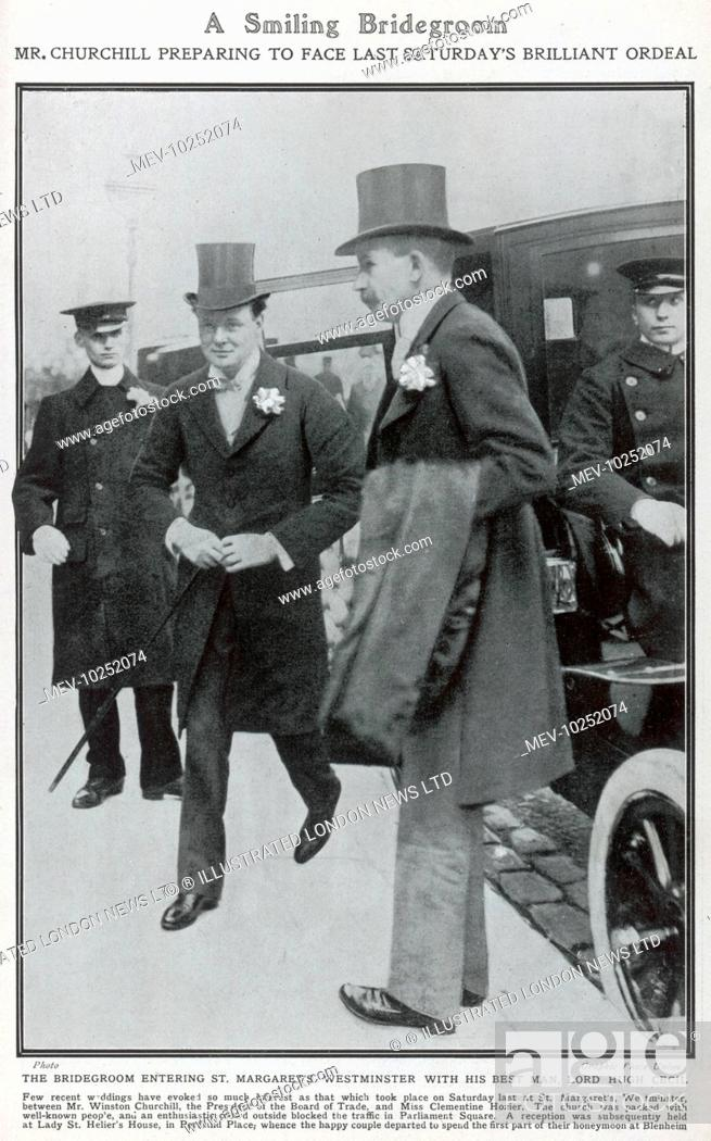 Stock Photo: Winston Churchill, attended by his best man, Lord Hugh Cecil, arriving at St. Margaret's Church in Westminster for his marriage to Miss Clementine Hozier on.