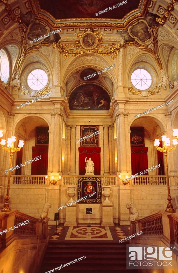 Stock Photo: Spain - Madrid - Palacio Real - The grand marble staircase.