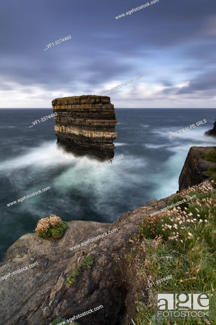 Stock Photo: the cliffs of Downpatrick Head in summer day, country Mayo, Connaught province, West Ireland, Europe.