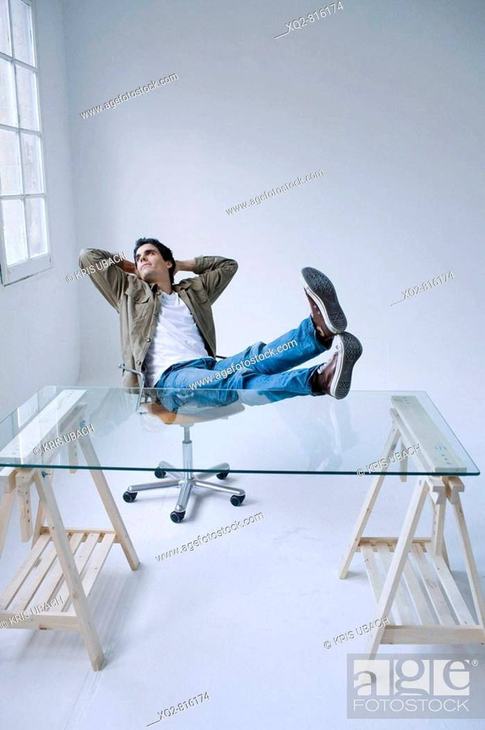 Stock Photo: Man in empty office.