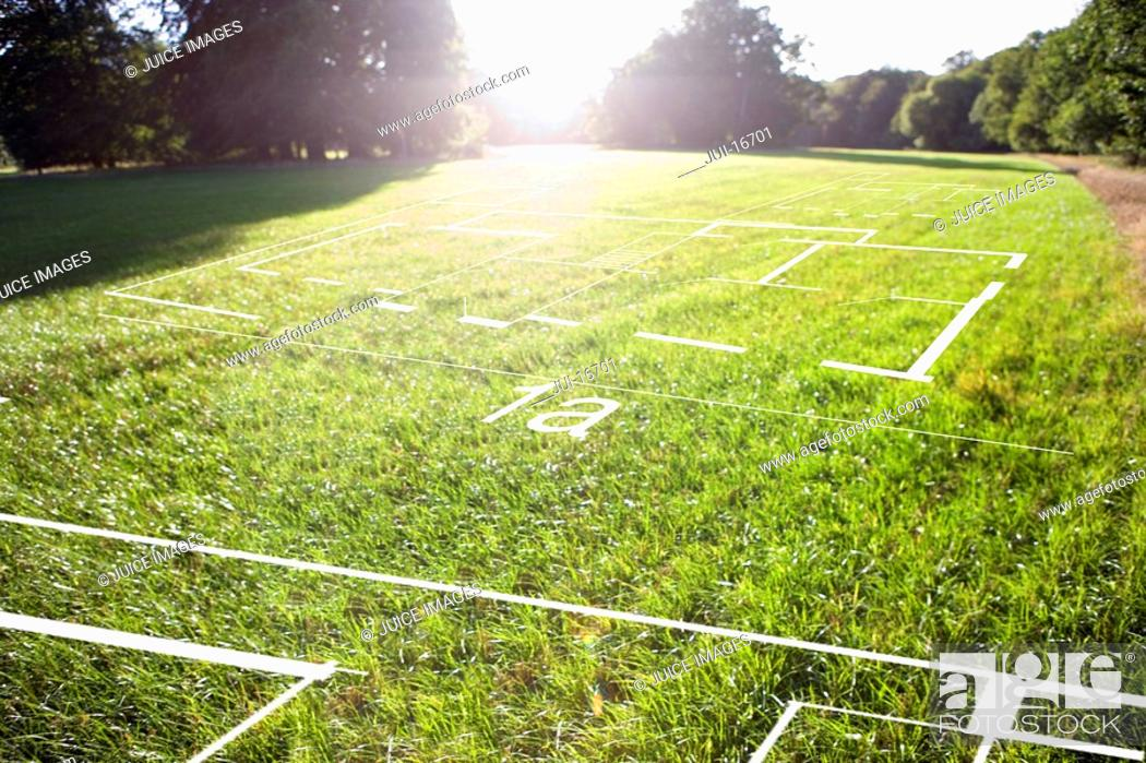 Stock Photo: Grass field with digital overlay.