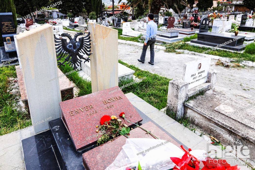 Stock Photo: Tomb of Enver Hoxha ( 1941 1985 ) former communist dictator of Albania at Sharra Cemetery where his body was moved without grandeur in 1992.