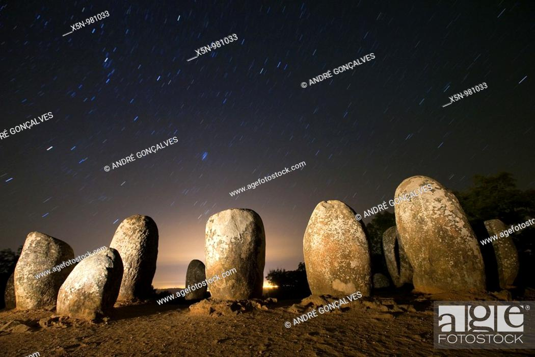 Stock Photo: Almendres Cromlech, Portugal.