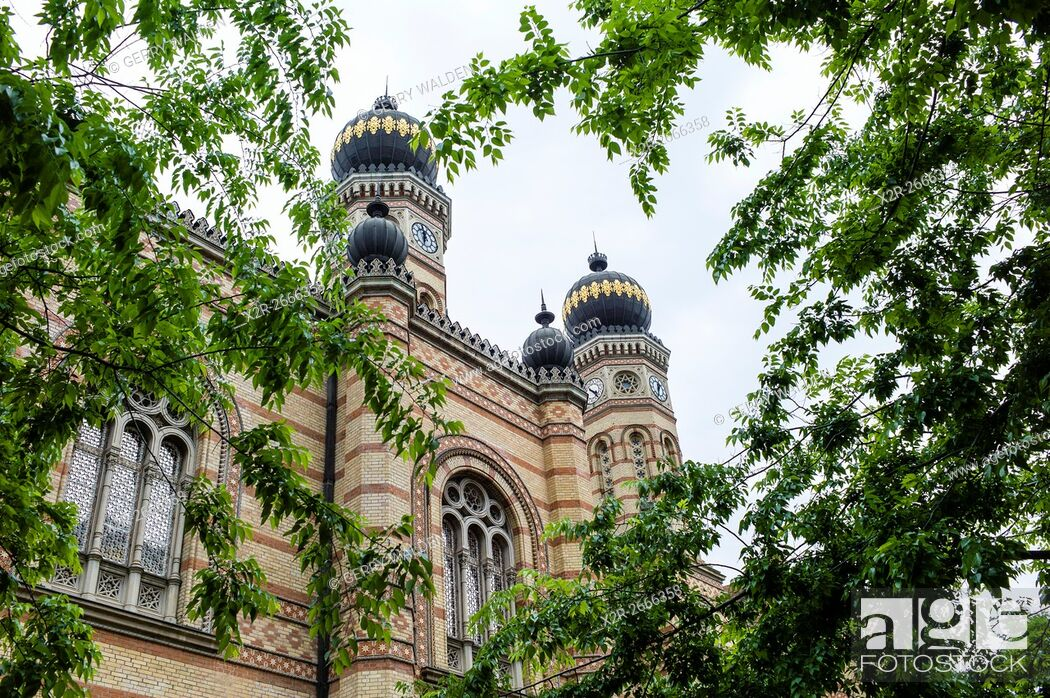 Stock Photo: The restored exterior facade of the Dohány Street Synagogue in the centre of Budapest, Hungary. The Dohány Street Synagogue is the largest synagogue in Europe.