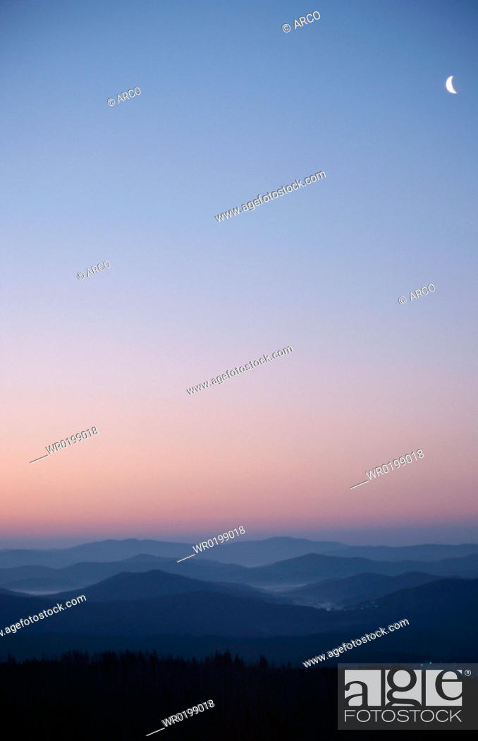 Stock Photo: View, on, Bavarian, forest, from, the, Lusen, at, dawn, Bavaria, Germany.