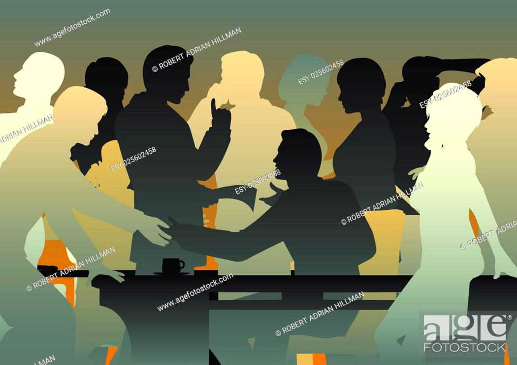 Vector: Editable vector silhouettes of people in a busy office or meeting.