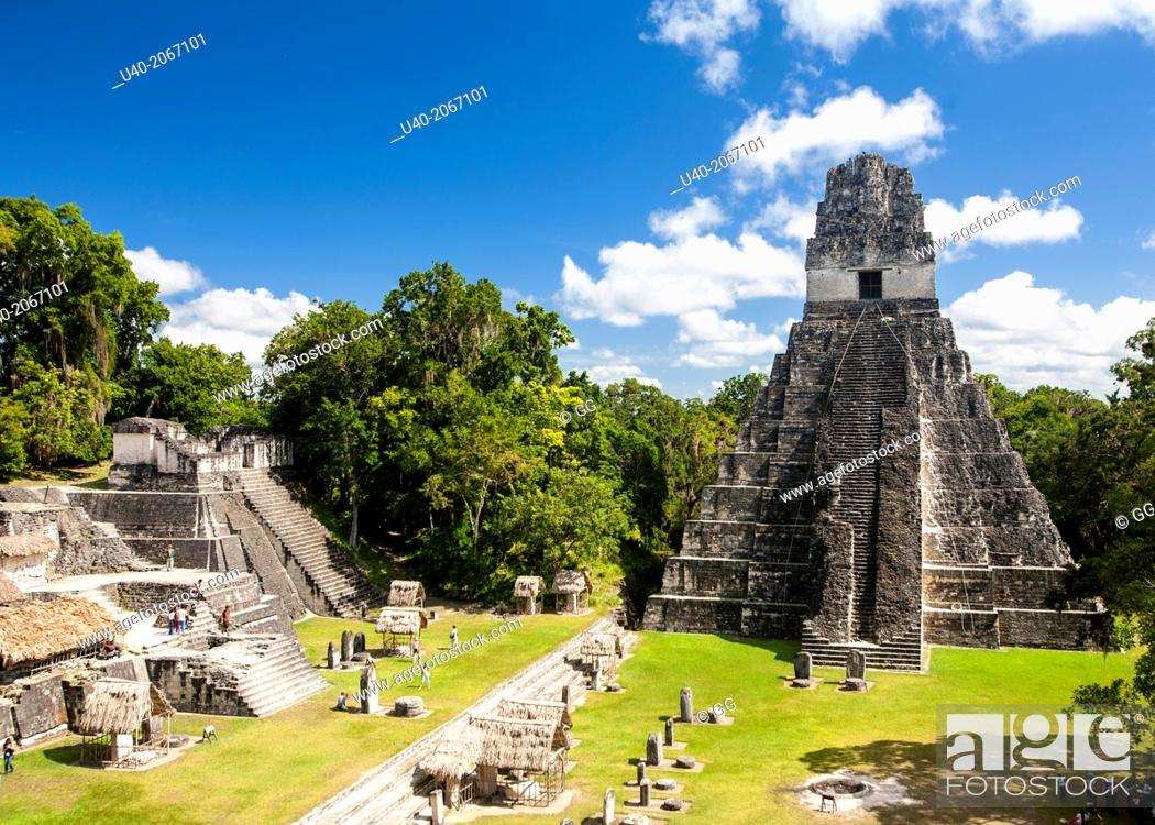Stock Photo: Guatemala, Tikal, Temple of the Jaguar.