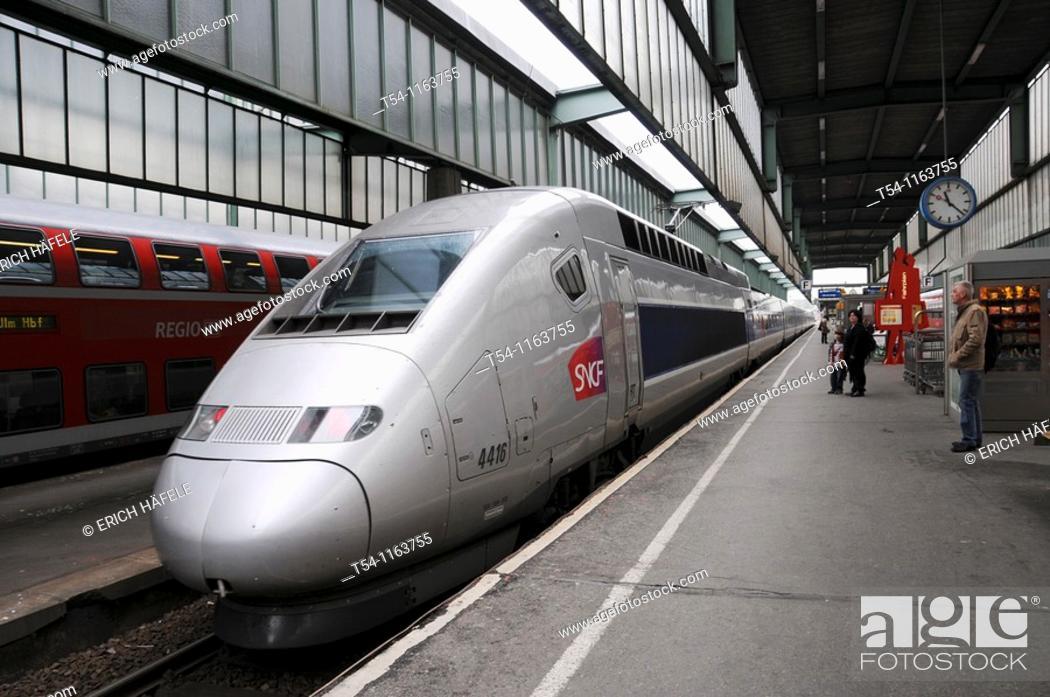 Stock Photo: TGV in Stuttgart Railstation.
