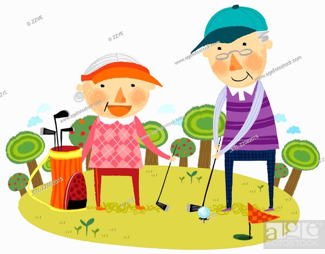 Stock Photo: Elderly couple playing golf.