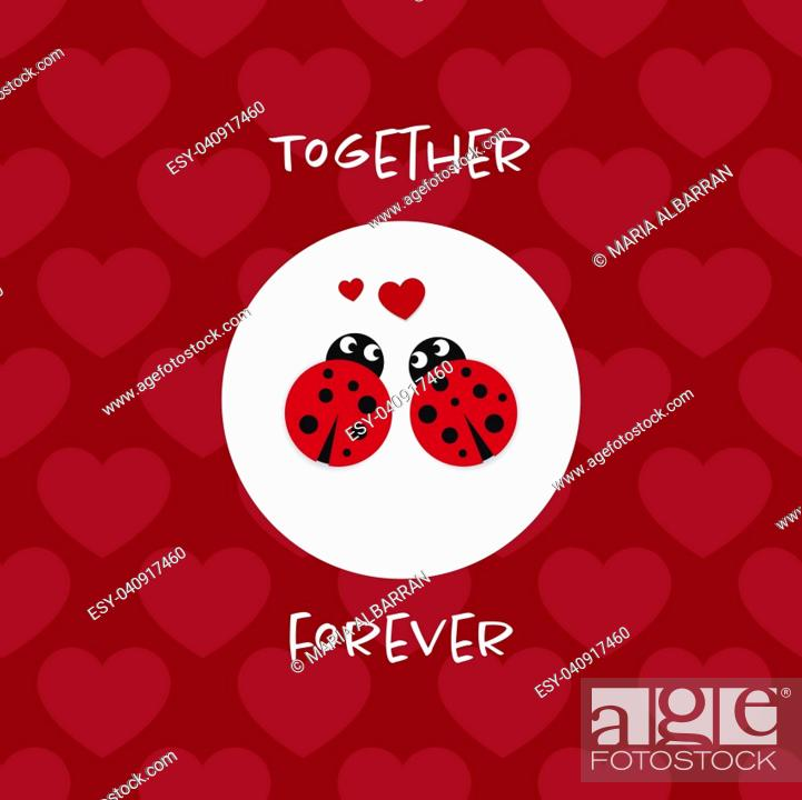 Vector: Together forever card with ladybugs.