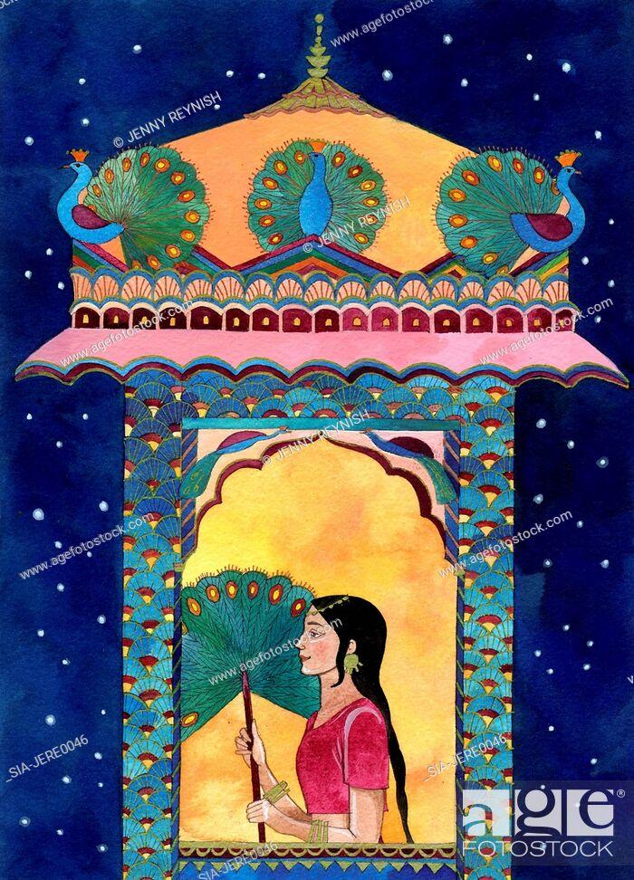 Imagen: Indian woman in window, peacocks on roof.