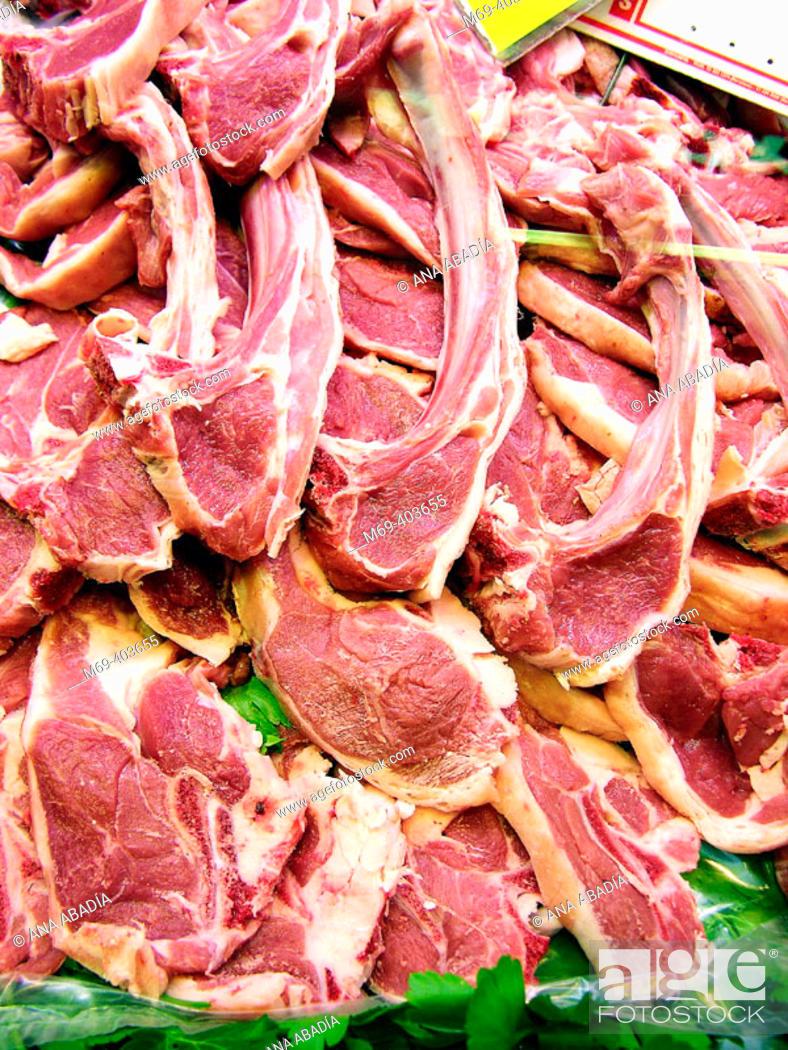 Stock Photo: Lamb meat. La Boquería market. Barcelona. Spain.