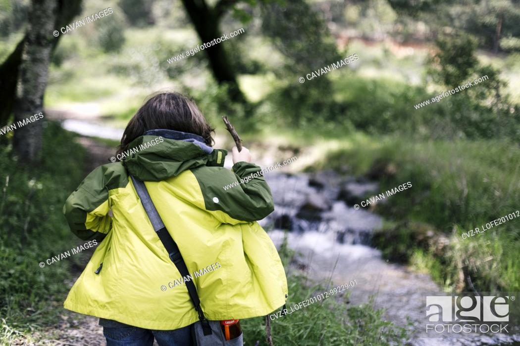 Imagen: Back of kid hiking with green raining coat and stick in natural park.