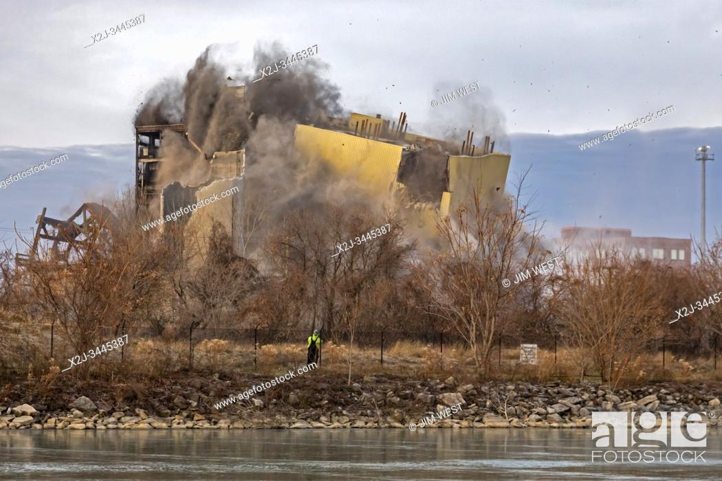 Stock Photo: Detroit, Michigan USA - 13 December 2019 - Explosive demolition of DTE Energy's Conners Creek power plant. The plant initially burned coal.