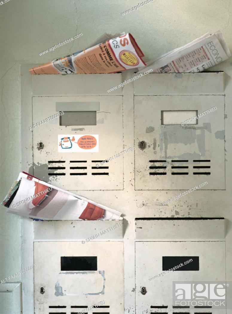 Stock Photo: Apartment mailboxes.
