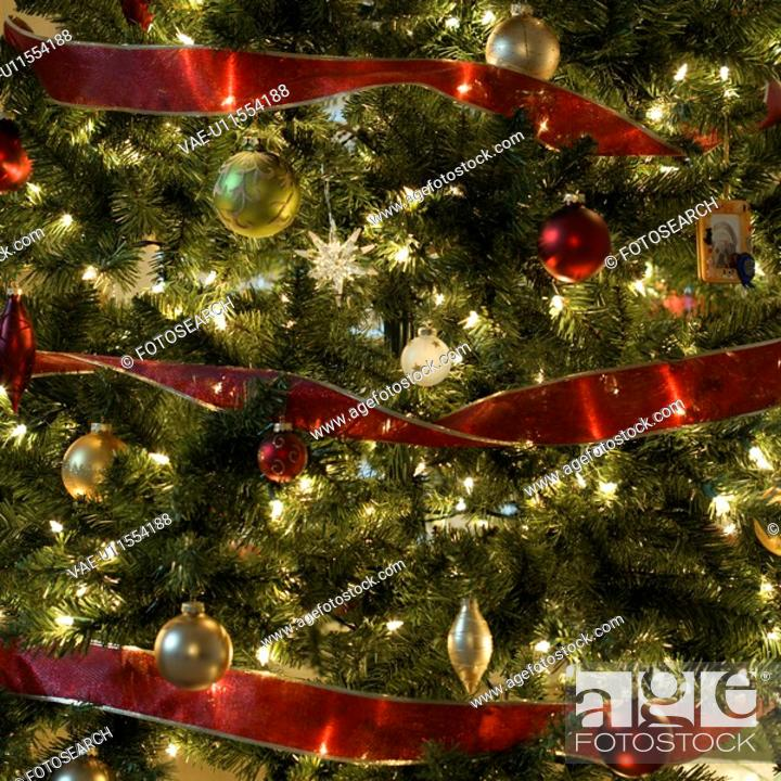 Stock Photo: Close up of decorated Christmas tree.