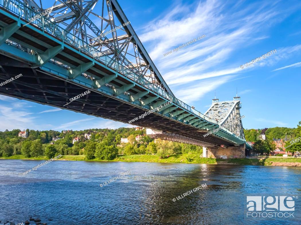 Stock Photo: The Loschwitz Bridge 'Blaues Wunder' in Blasewitz, Dresden, Saxony, Germany.