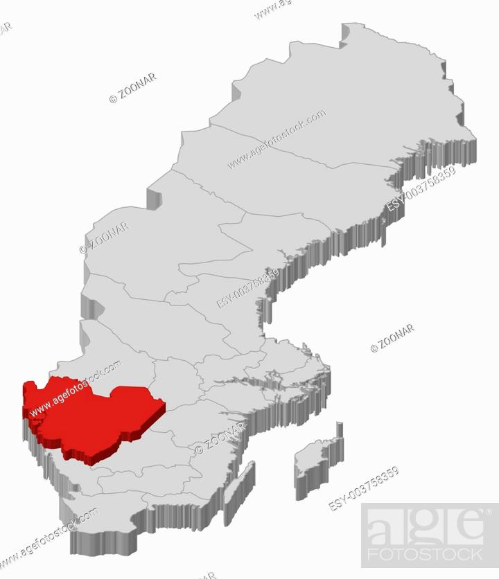 Map Of Sweden Vastra Gotaland County Highlighted Stock Photo Picture And Low Budget Royalty Free Image Pic Esy 003758359 Agefotostock