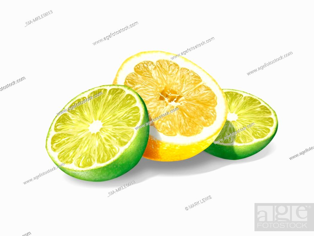 Stock Photo: Lemon and lime slices on white background.