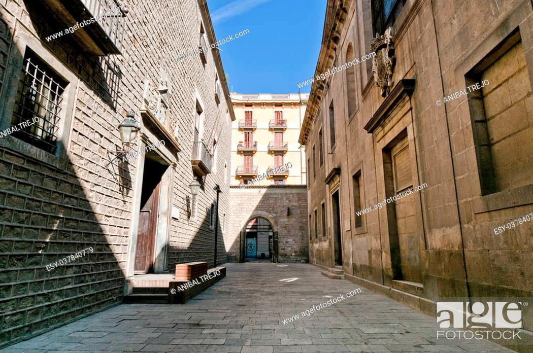 Stock Photo: Institut Estudis Catalans located in Barcelona, Spain.