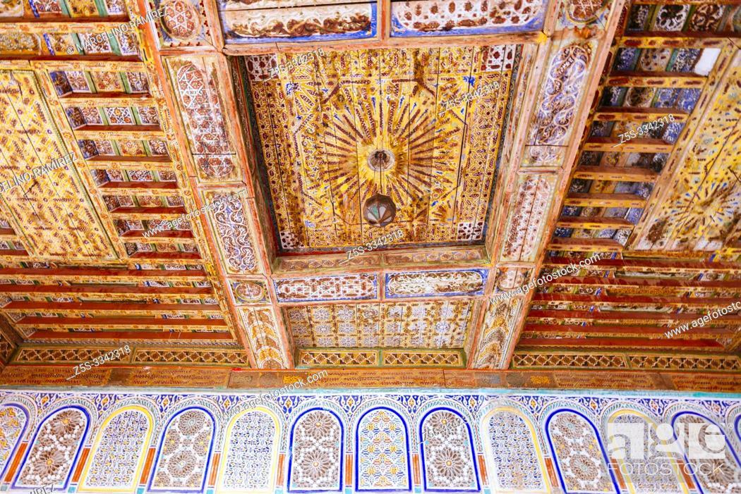 Stock Photo: Luxurious Arabic craftsmanship inside. Mud brick Kasbah of Taourirt. Ouarzazate, Drâa-Tafilalet, Morocco, North Africa.