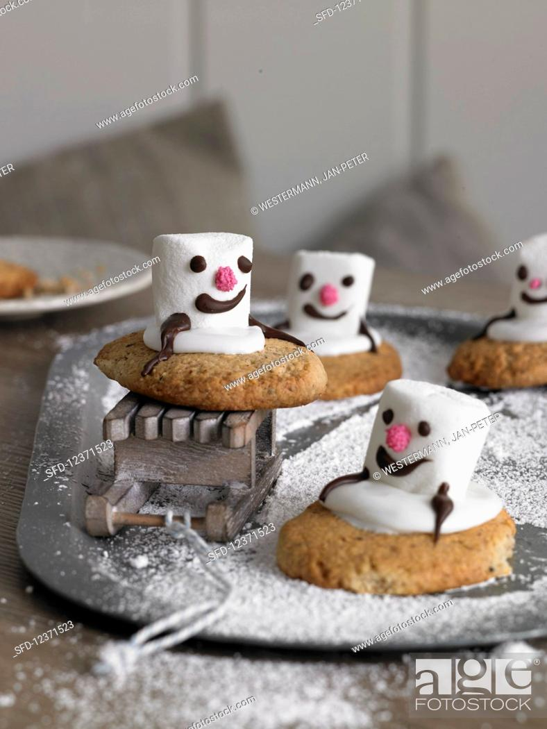 Snowman Biscuits With Marshmallows Stock Photo Picture And Rights